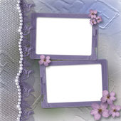 Grunge lilac frame for photo with pearls — Stock Photo