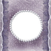 Grunge lilac frame for photo with pearls and lac — Stok fotoğraf