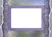 Grunge lilac frame with pearls — Stock Photo