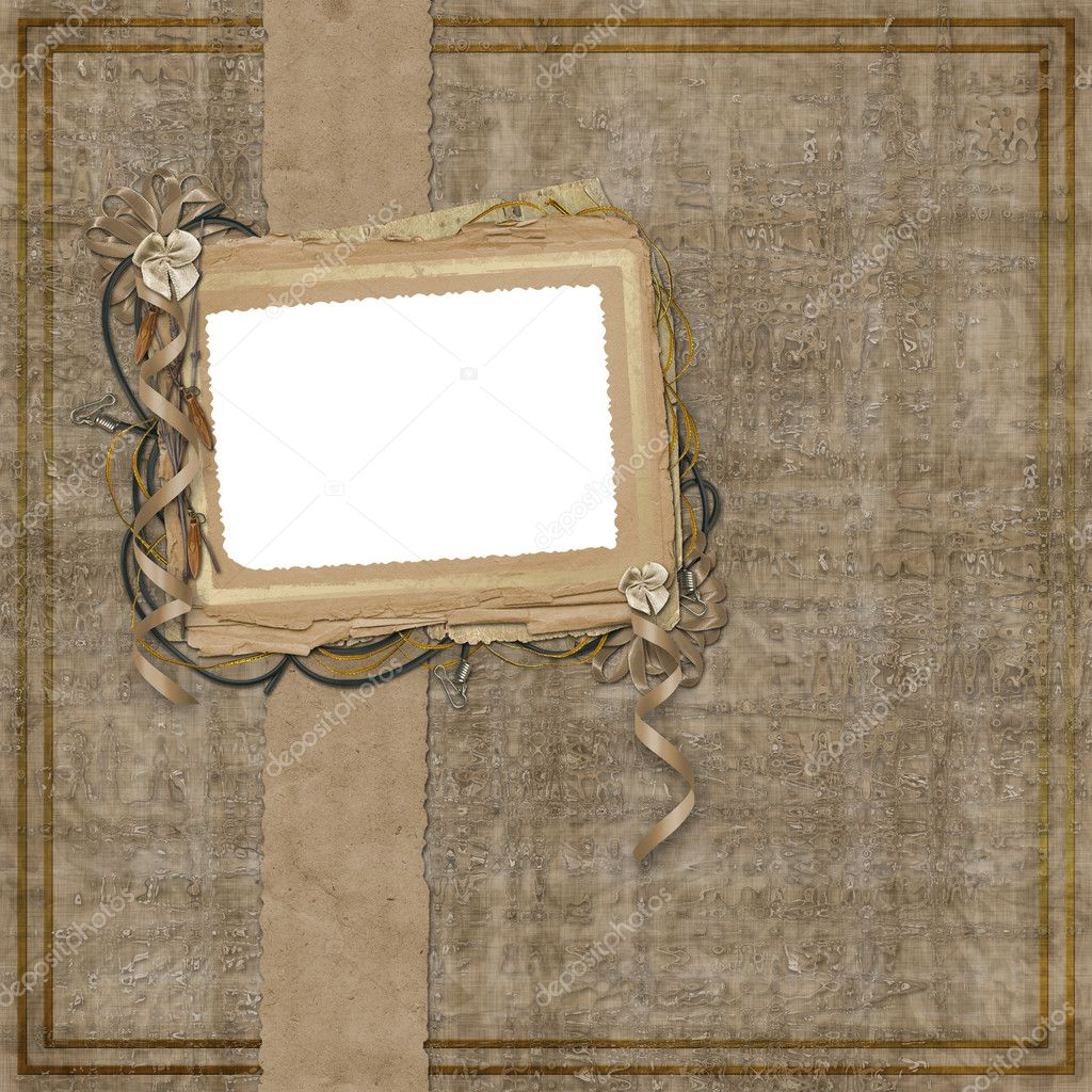 Grunge papers design in scrapbooking style with bow  Stock Photo #2282606