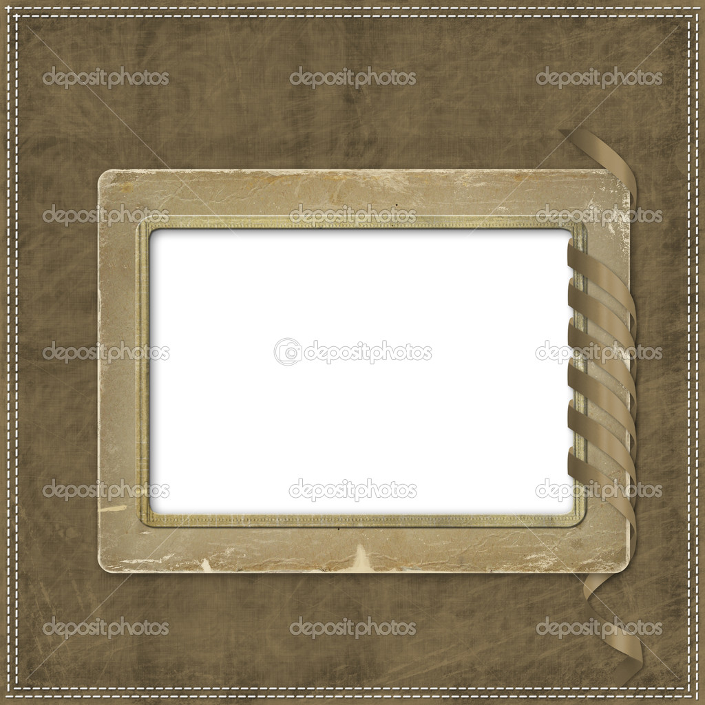 Beige abstract background with and frames and streamer — Stock Photo #2289146