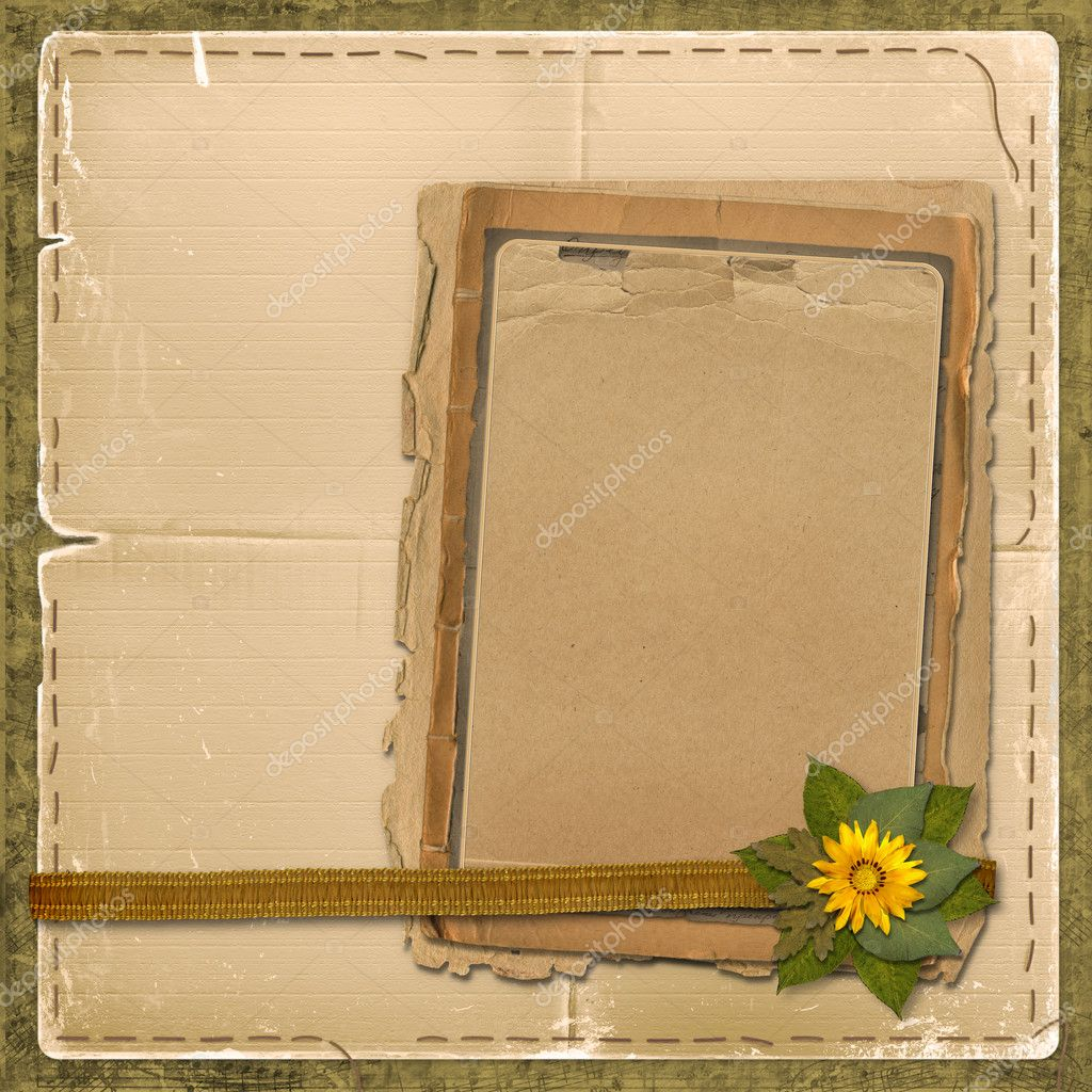 Grunge papers design in scrapbooking style with bunch of flowers  Stock Photo #2289678