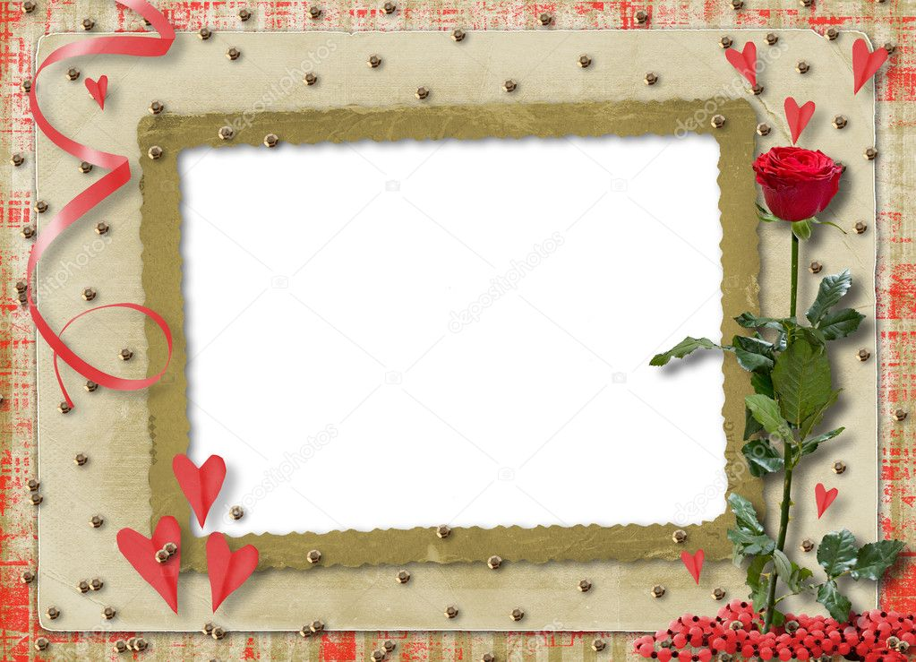 Card for congratulation or invitation with red hearts and red rose — Stock Photo #2309172