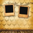 Stock Photo: Old alienated slides on wall