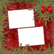 Greeting card for the holiday, with a red ribbon — Stock Photo #2313301
