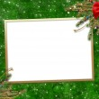 Greeting card for the holiday, with a red ribbon — Stock Photo #2313401