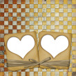 Old grunge paper frame with heart — Stock Photo