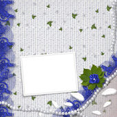 Frame with pearls and bunch of flower — Stock Photo