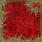 Greeting card for the holiday, with a red ribbon — Stock Photo