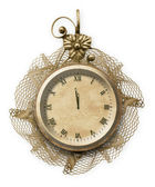Antique clock face with lace — Stock Photo
