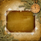 Antique clock face with and firtree — Stock Photo