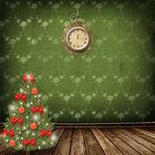 árbol de navidad con bolas y arcos — Foto de Stock