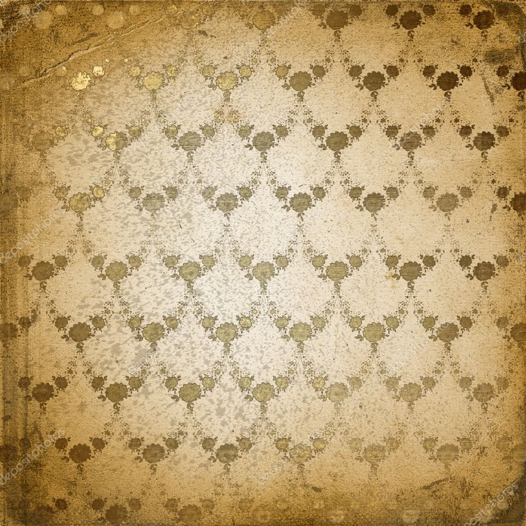 Grunge brown background with ancient floral ornament  Stock Photo #2312373