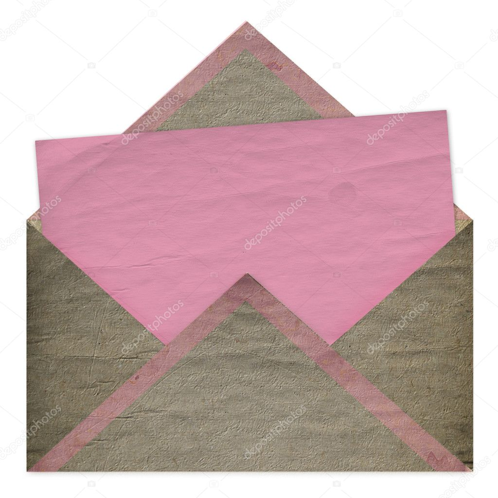 Set of vintage pink paper for congratulation or invitation and envelope — Stock Photo #2312695