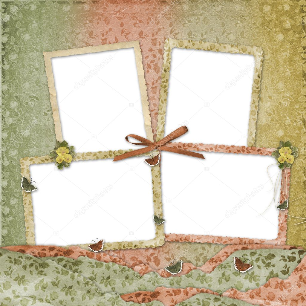 Four frames with ribbons and bow to old photos — Stock Photo #2312761