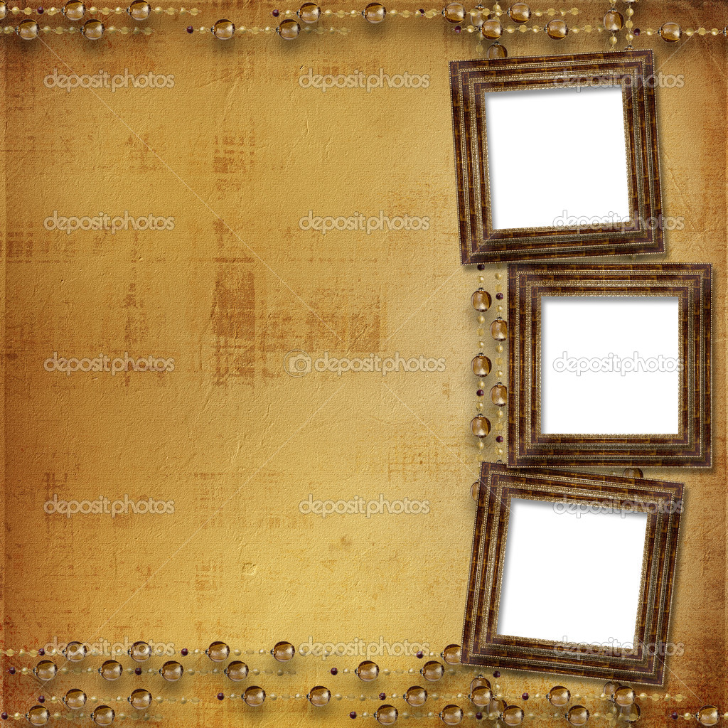 Three gold frames Victorian style on the wall — Stock Photo #2312784
