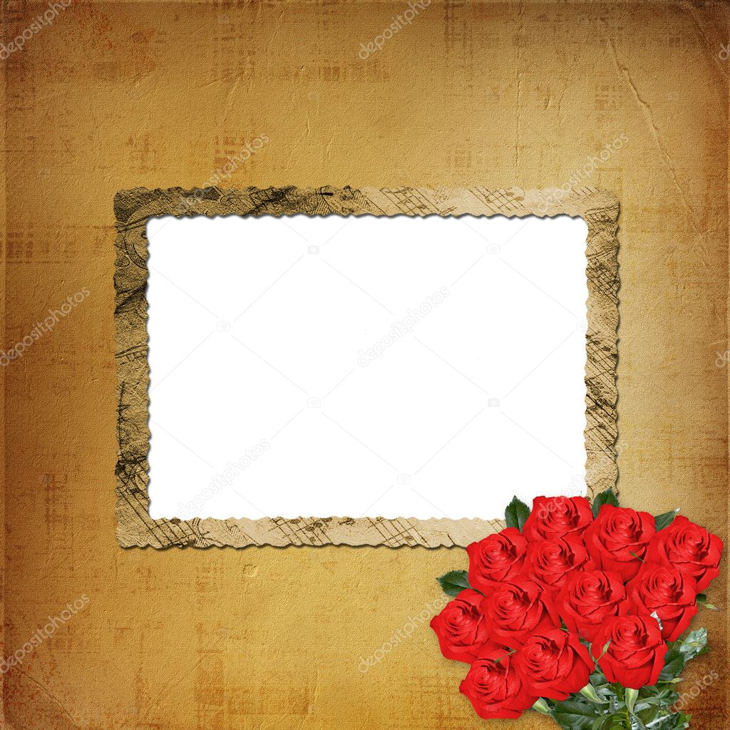 Card for congratulation or invitation with red roses — Stock Photo #2312805