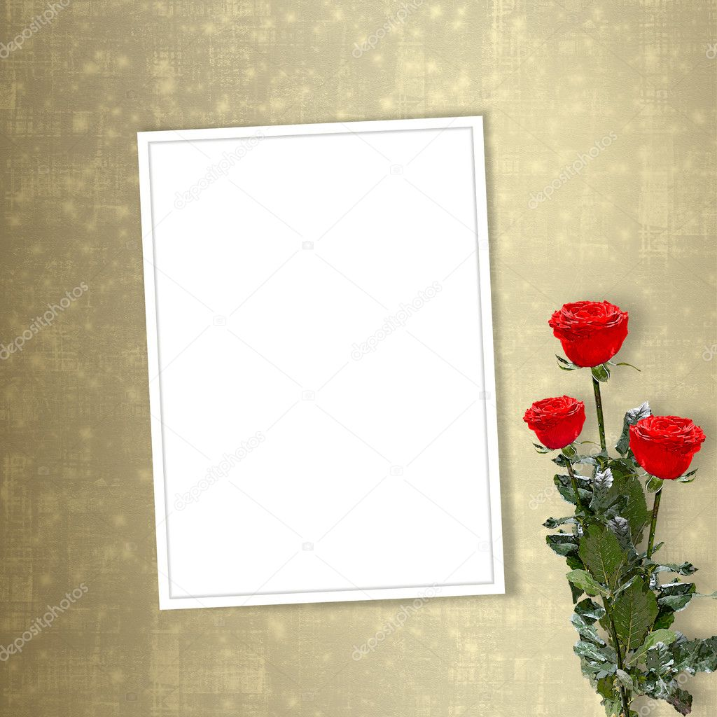 Card for congratulation or invitation with red roses — Stok fotoğraf #2313225