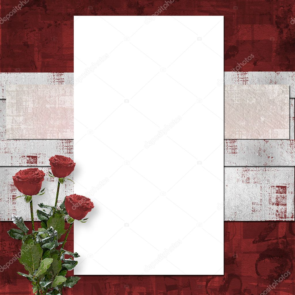 Card for congratulation or invitation with vinous roses — Lizenzfreies Foto #2313266