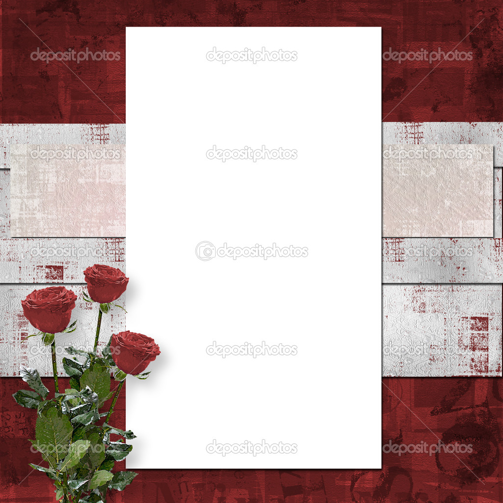 Card for congratulation or invitation with vinous roses — Stock Photo #2313266