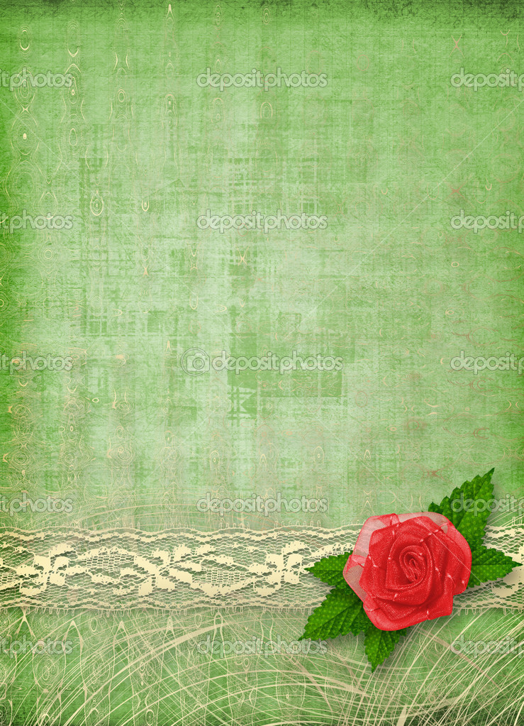 Card for invitation or congratulation with buttonhole and lace — Stock Photo #2316932