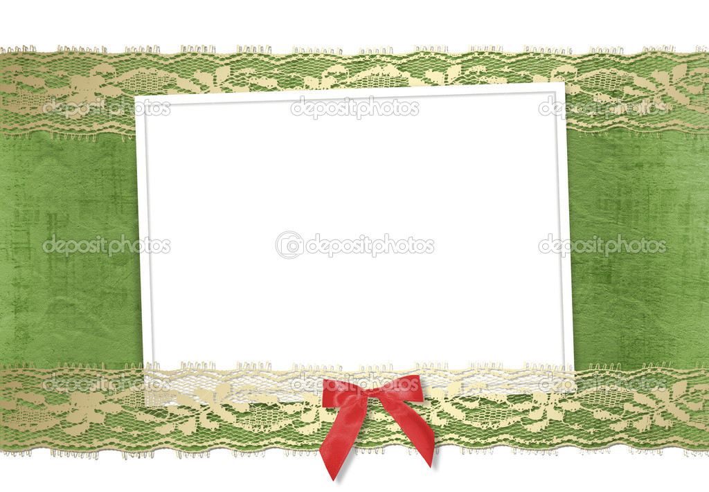 Frame for photos with gold lace and red bow  Stock Photo #2317400