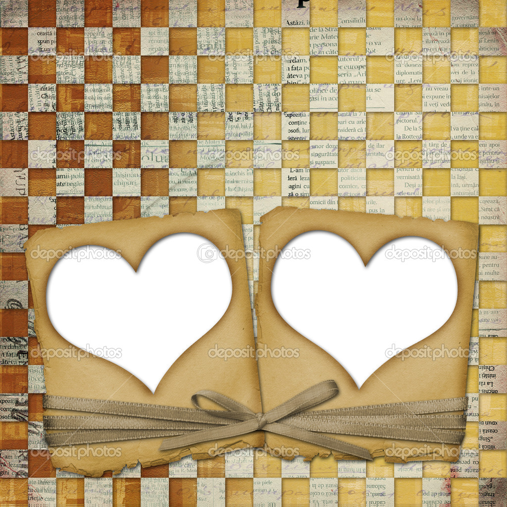 Old grunge paper frame with heart on the ancient background — Stock Photo #2318695