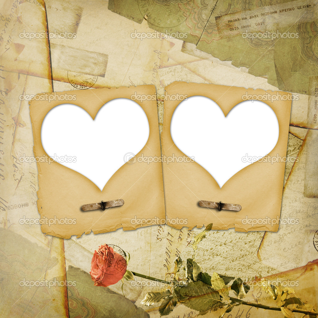Old grunge paper frame with heart on the ancient background — Stock Photo #2319489