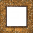 Stock Photo: Wooden frame on leafage background