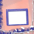Frame with pearls and blue lace — Stock Photo