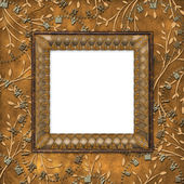 Wooden frame on the leafage — Foto Stock