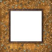 Leafage 背景に木製フレーム — ストック写真