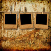 Old photoframes are hanging in the row — Stock Photo