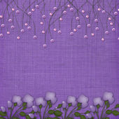 Violet background with suspended beads — Stock Photo