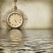 Antique clock face reflected — Stock Photo