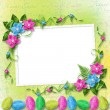 Pastel background with colored eggs - Stok fotoğraf
