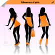 Silhouette girls orange dress — Stock Vector