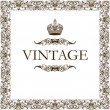 Vintage frame decor crown - Stok Vektr