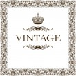 Vintage frame decor crown — Vector de stock