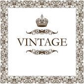 Vintage πλαίσιο διακόσμηση στέμμα — Διανυσματικό Αρχείο
