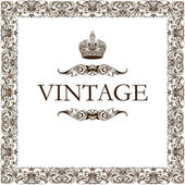 Vintage frame decor crown — Cтоковый вектор