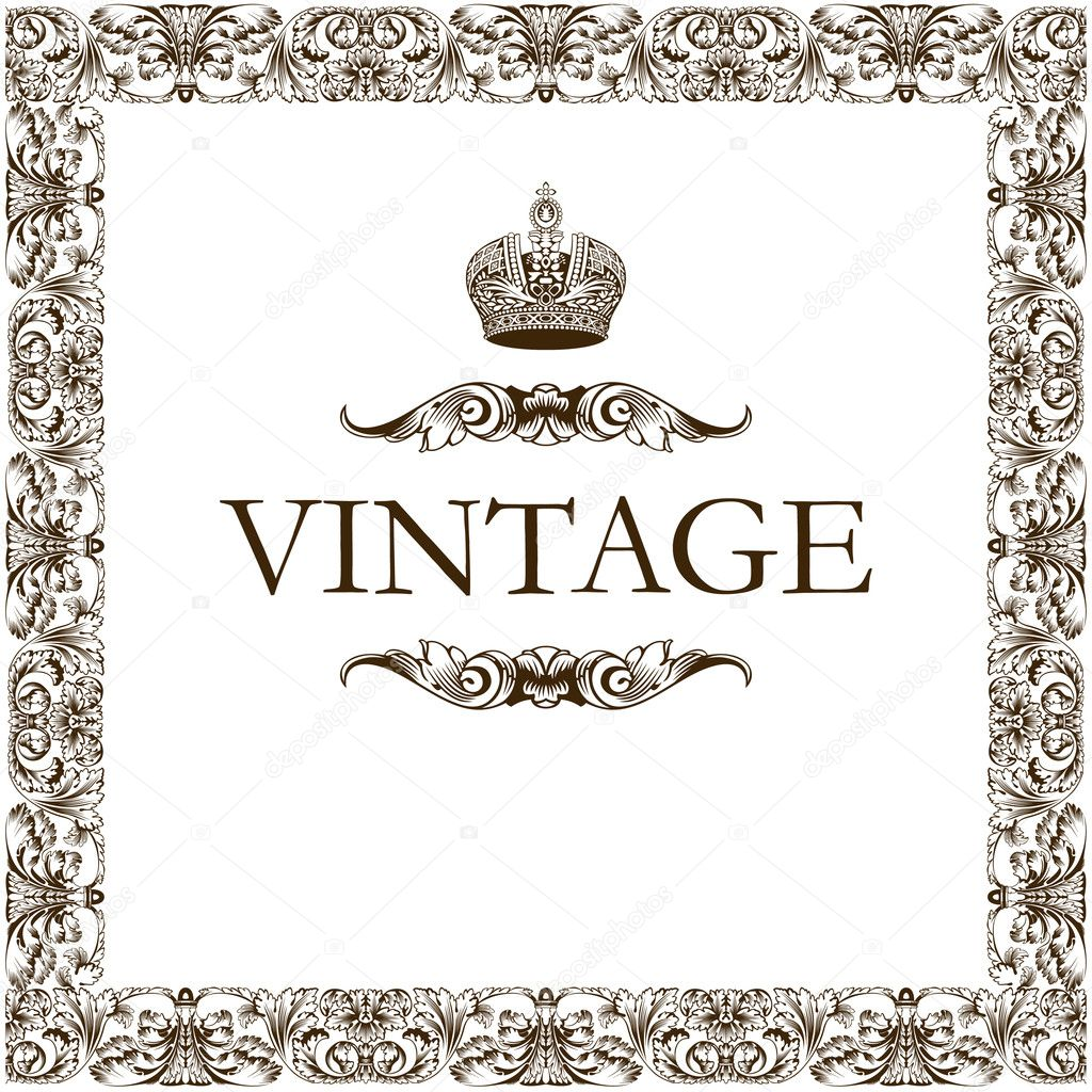 Vintage frame decor crown vector  Imagen vectorial #1209046