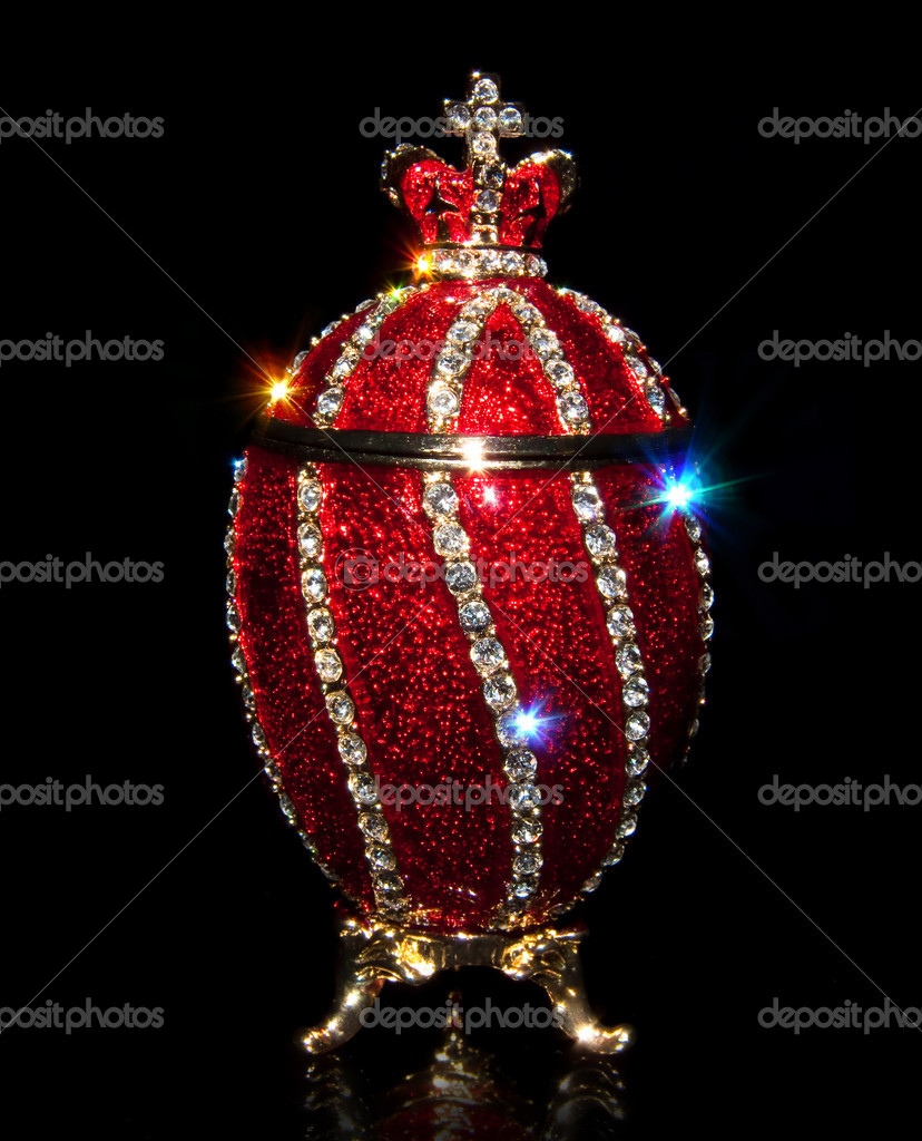 Faberge Egg in black with patches of light — Stock Photo #1225211