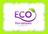 Eco grass frame isolated in white — Stock Vector