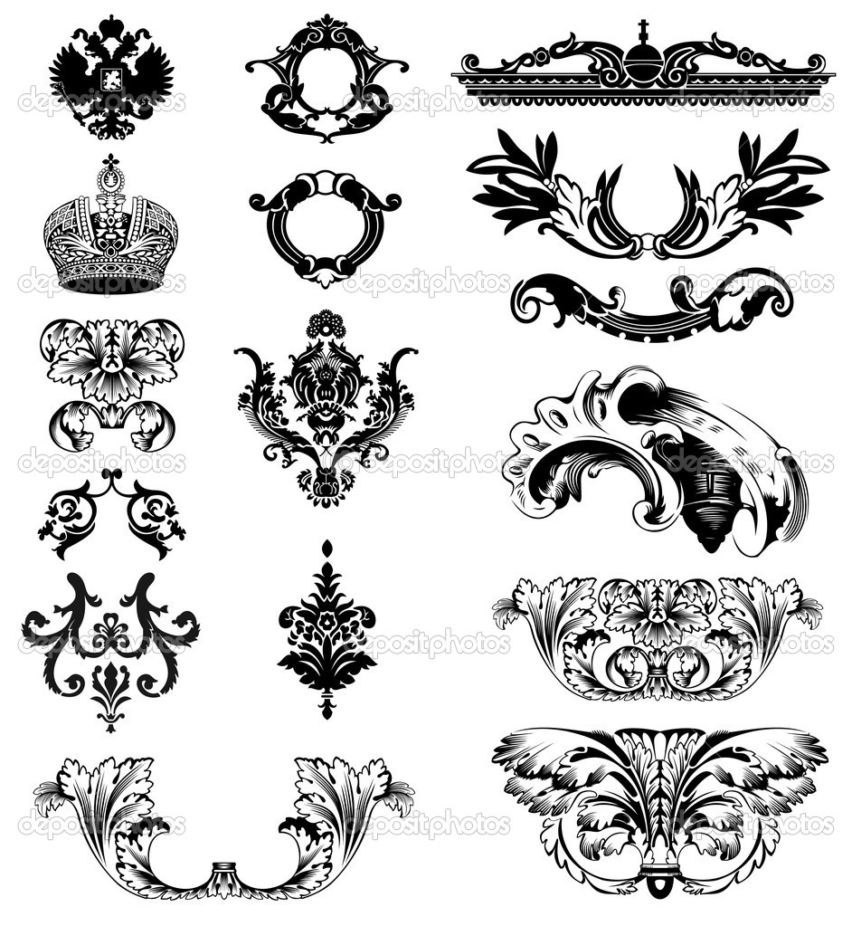 Elements of imperial ornament. Vector illustration  Stock Vector #1224568