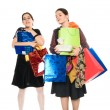 Shopping (girls with purchases) — Stock Photo