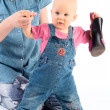 Stock Photo: Charming baby with shoe