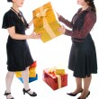 Girl make present to another one — Stock Photo