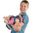 Stock Photo: Mother hold daughter head over heels
