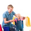 Mother and baby with gifts — Stock Photo